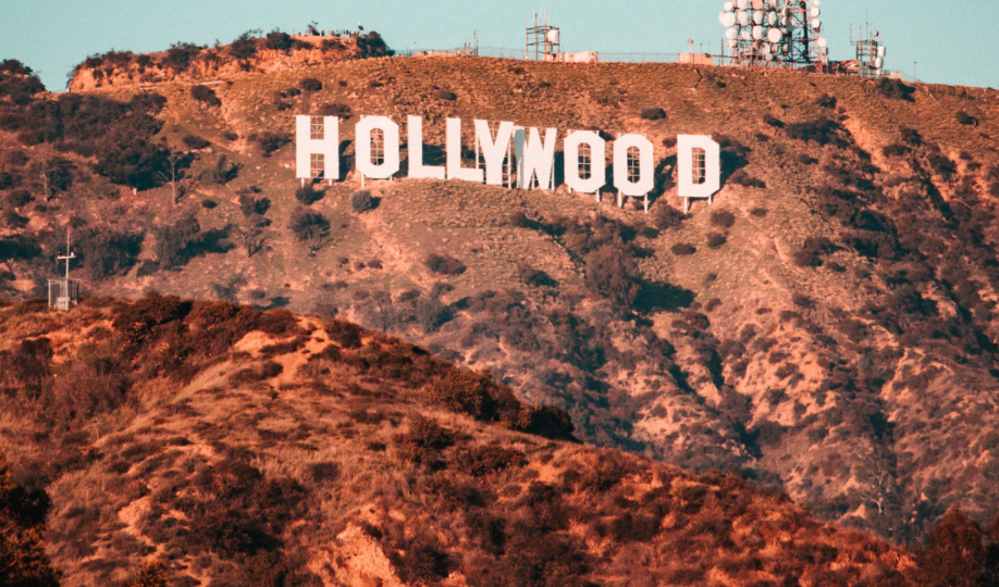 Hollywood sign and radio tower early evening