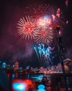 blue and orange fireworks